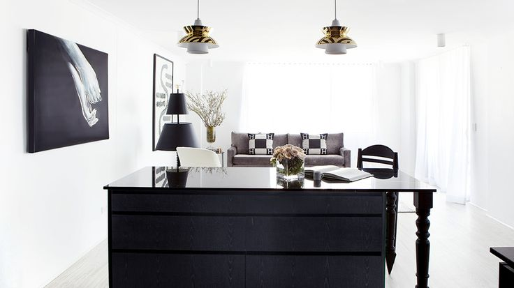 A 70's Apartment Gets a Bold Black and White Makeover // Gold accents: James Of Arci, Interiordesign Blackandwhit, Black And White, James D'Arcy, Design Awards, Interiors Design, 70S Apartment, Bold Black, James Dawson