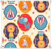 Medallones de colores vivos, con figuras clásicas de circo, combínalo con rojo, turquesa, naranja...