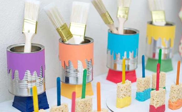 Use soup cans as paint cans
