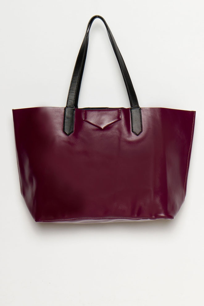 Merlot leather tote