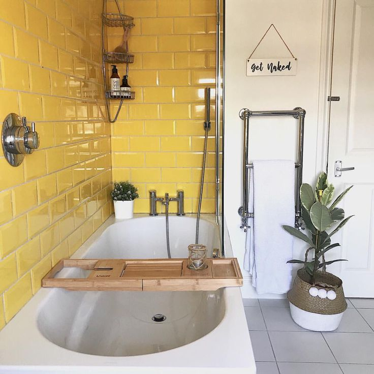 neutal bathroom with yellow tile – pop of color li…