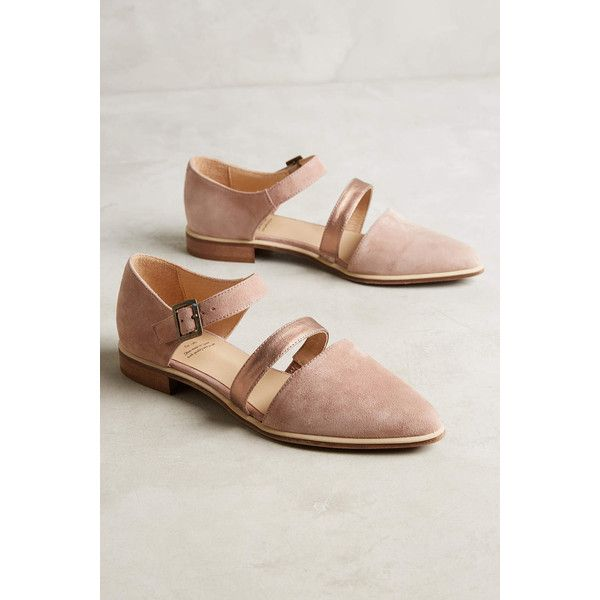Anthropologie KMB Ellyn Flats ($128) ❤ liked on Polyvore featuring shoes, flats, pink, flat pumps, pink flats, flat pump shoes, pink flat shoes and flat shoes