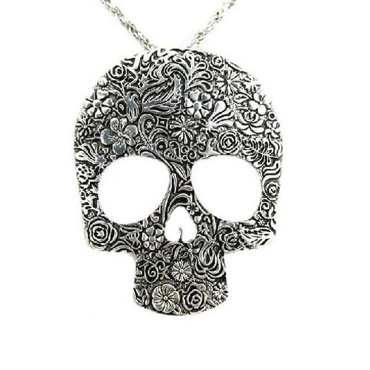 Vintage Gothic Skull Pendant Necklace