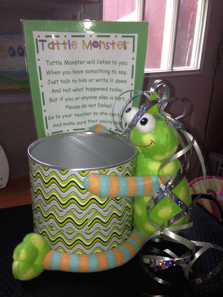 Tattle Monster can...I have a teacher friend who has a tattle monster stuffed animal like this.  Kids can pick him up, whisper in his ear, give him a hug and then put him back.  They seem to be loving it!  :)