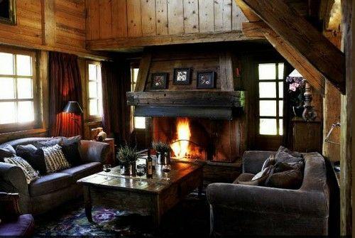 kompaktes interior design für männer feuerstelle holz wandbelag
