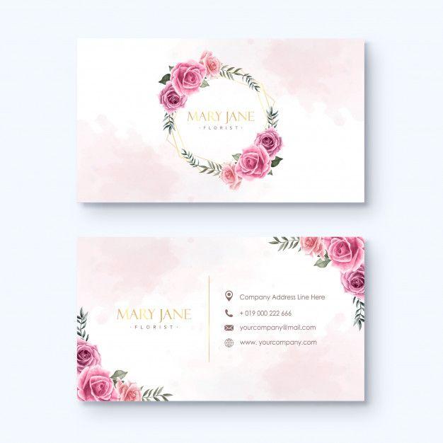 Modelo De Cartao De Florista Aquarela Flores Florist Business Card Floral Business Cards Business Cards Creative