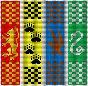 From left to right: Gryffindor, Hufflepuff, Ravenclaw, Slytherin