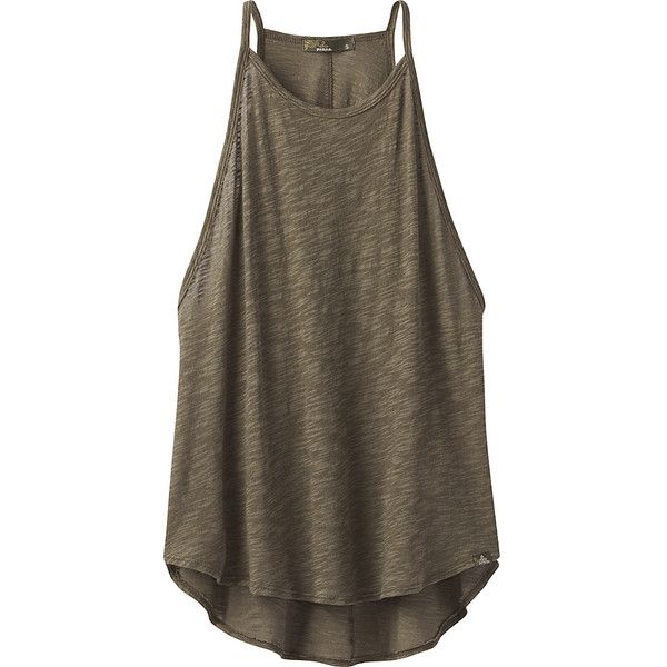 PrAna You Tank - XL - Cargo Green - Shirts (£28) ❤ liked on Polyvore featuring tops, green, high neck tank top, cargo shirts, brown tank top, green tank top and cargo tank