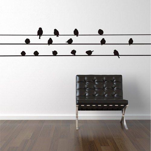 wallstickers med mange fugle på strøm kabler
