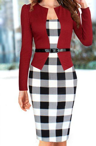 Checked Print Faux Twinset With Belt Stylish Round Collar Long Sleeve Women's Dress