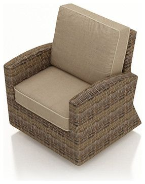 Cypress Modern Patio Swivel Glider Chair, Spectrum Mushroom Cushions contemporary-outdoor-chairs