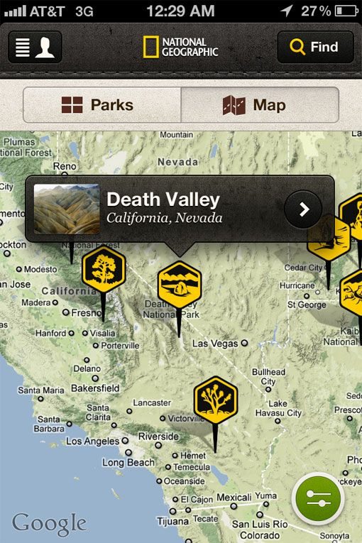 National Geographic app, an interactive guide to the U.S.'s national parks