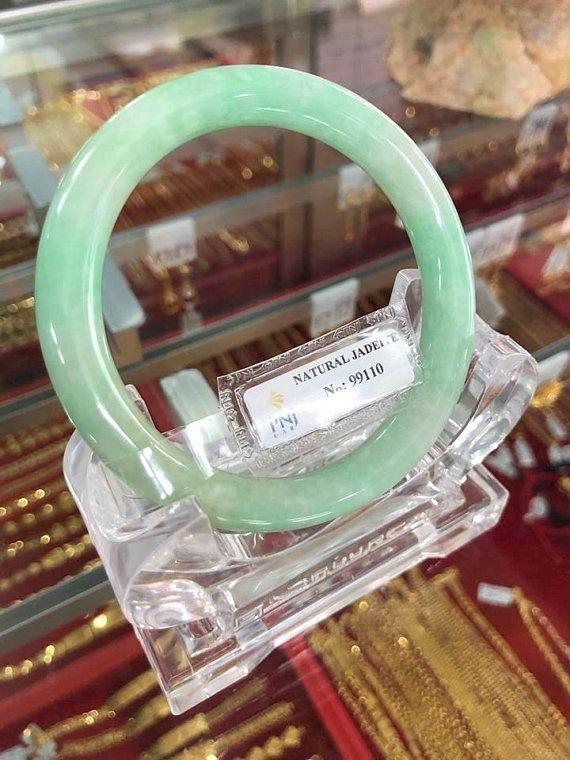Vintage Translucent Natural Green White Jadeite Jade Bangle Bracelet 54.8MM