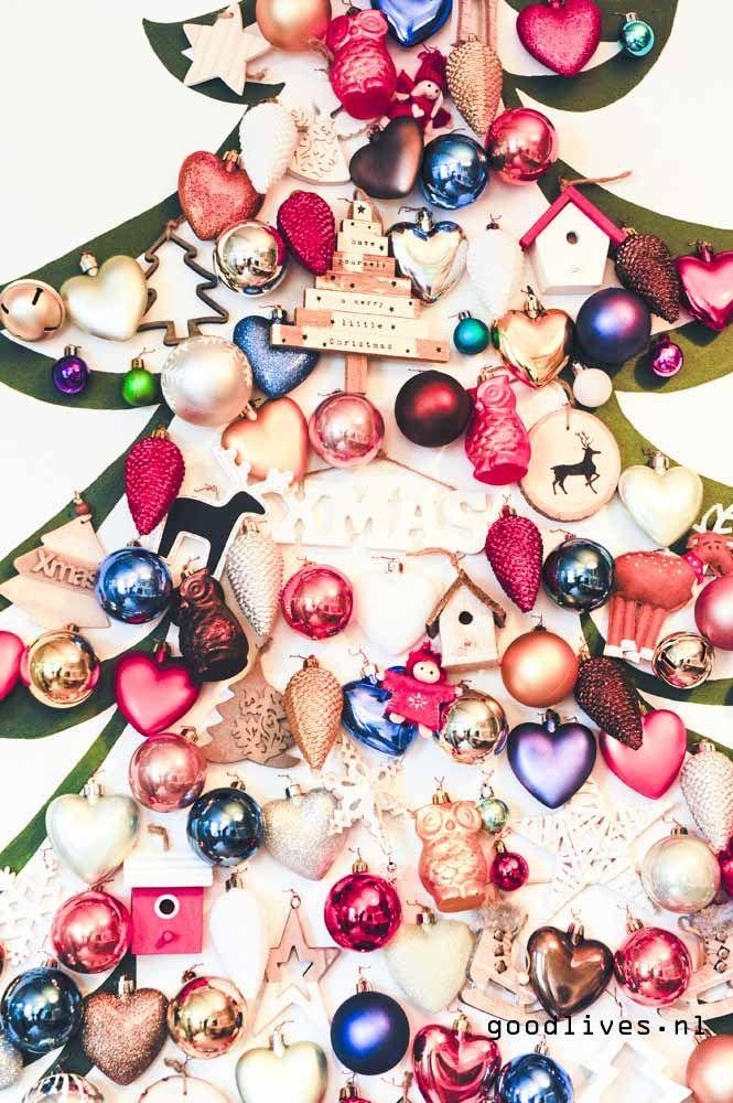 Closeup alternatieve kerstboom op doek DIY, #christmas #kerst