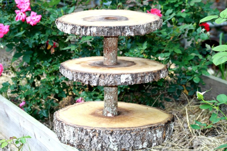 Rustic wedding decoration, cupcake stand, tree slice, woodland, center piece. $79.95, via Etsy.