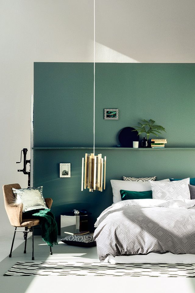 20 accent wall ideas youll surely wish to try this at home warm bedroombedroom greengreen - Green Bedroom Design
