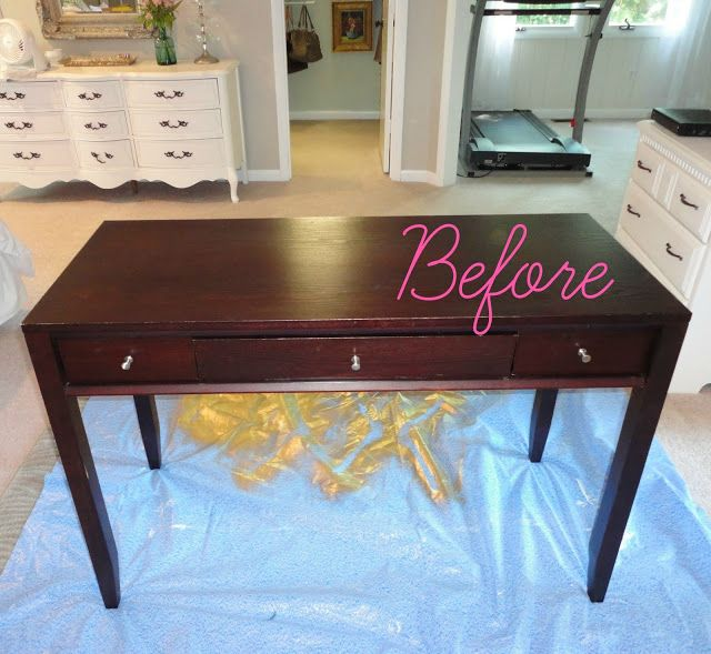 Thrift Store Desk Makeover Using Spray Paint And Silver