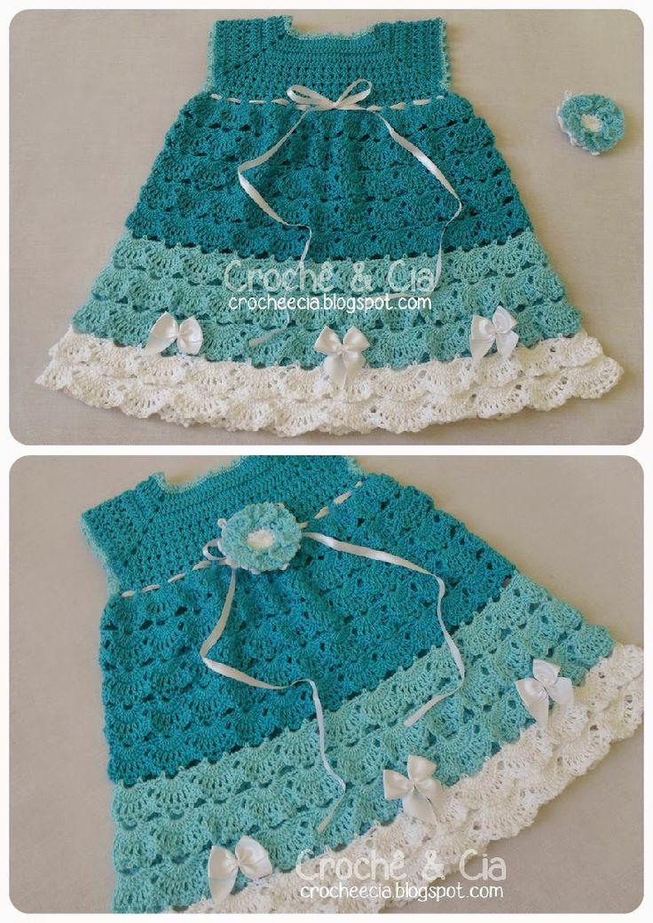 Croche e Cia: Vestido em tons de azul e branco