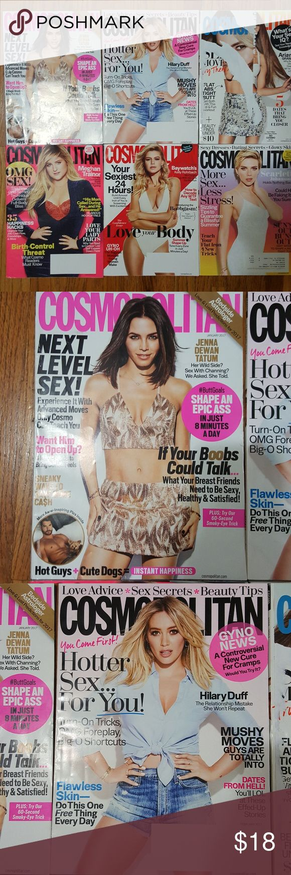 Set of 6 Cosmo Cosmopolitan Magazines 2017 Selling as a lot. Can't be bundle w/ other magazines/heavy items due to shipping weight limit. Can be bundle with lighter items like clothing from my closet. Most are new/unread & great condition. Outside might be torn from shipping or storing. Pages are all there but might have few missing perfume sample pages. Last pic show all Cosmo I own as of 2/2018. Month:June,May,April,Feb,Jan2017 Celebrity cover:Jenna Dewan Tatum,Hilary Duff,Meghan…
