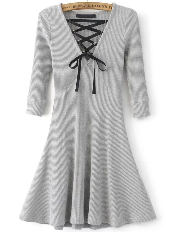 Grey Lace Up V Neck 3/4 sleeve A Line Dress