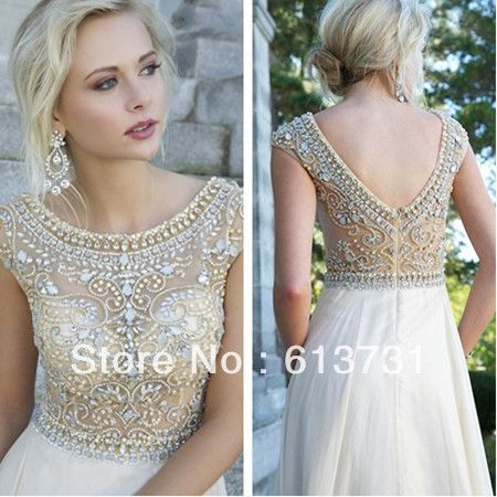 Women's Evening Gowns With Short Sleeves See Through Crystal Beaded Chiffon A Line Long Prom Dresses 2014 Fast Shipping $159.00
