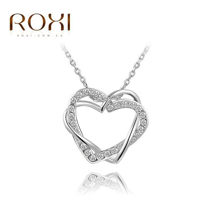 Encontrar Más Collares Información acerca de Marca ROXI collar doble del corazón…