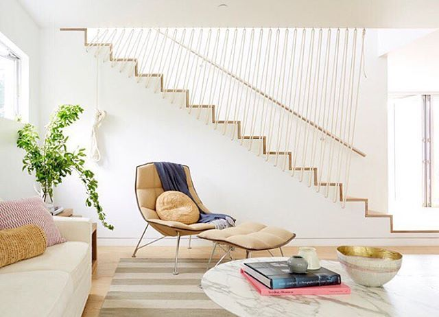 "@em_henderson showing us love again in @designmilk's most recent article ""5 Minimalist Styling Tips For The Modern Home From Emily Henderson"". Noah Riley. that wall of rope!!"