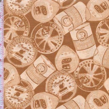 Лоскутное Treasures - индийские Мотоциклы - Тан Gears, нефть и т.д. Банки - хлопок сплетенная ткань