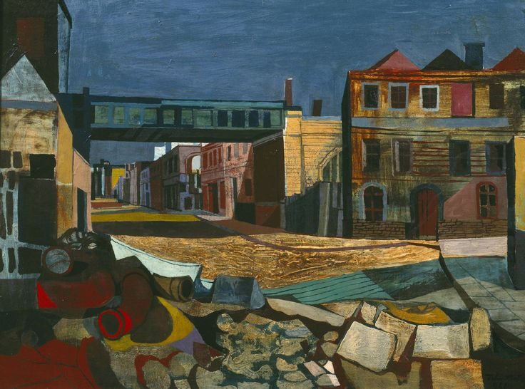 John Minton (1917-1957). Street and Railway Bridge', 1946 © The estate of John…