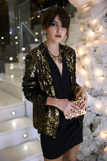 Glamorize your classic LBD for the holidays by adding a sequin blazer and clutch in a matching tone. #christmas #party #outfits