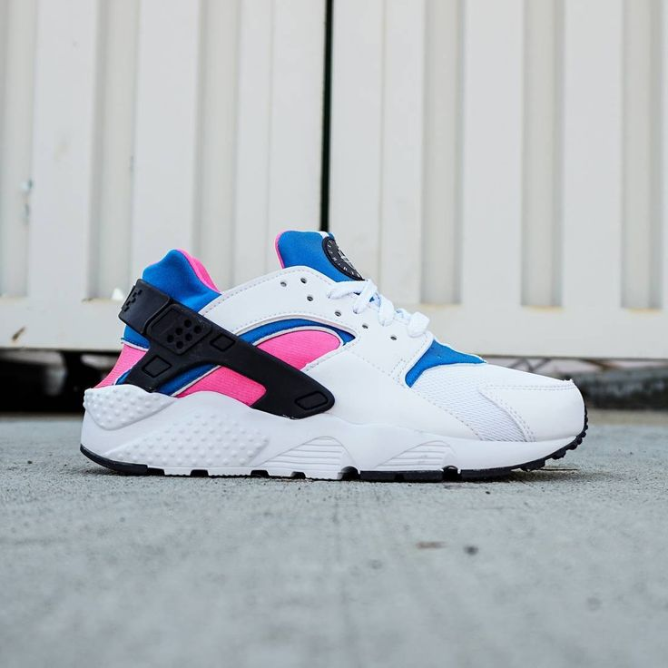 Nike Little Kids Huarache Run GS (white / blue / black)