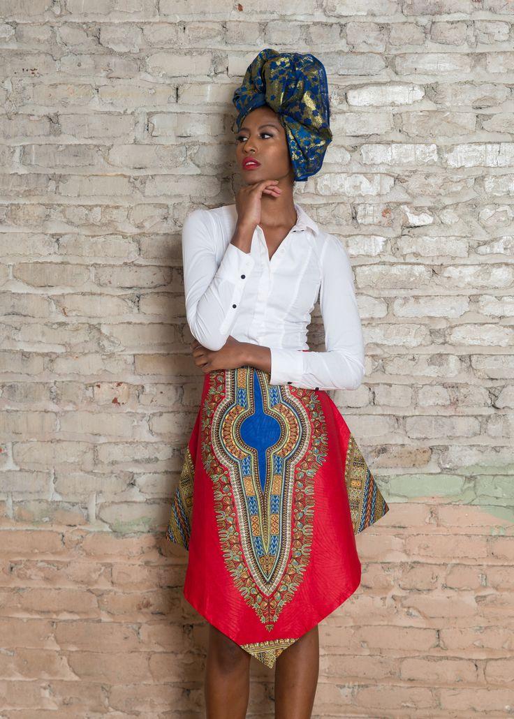 Dashiki African Print V Skirt - Red Style