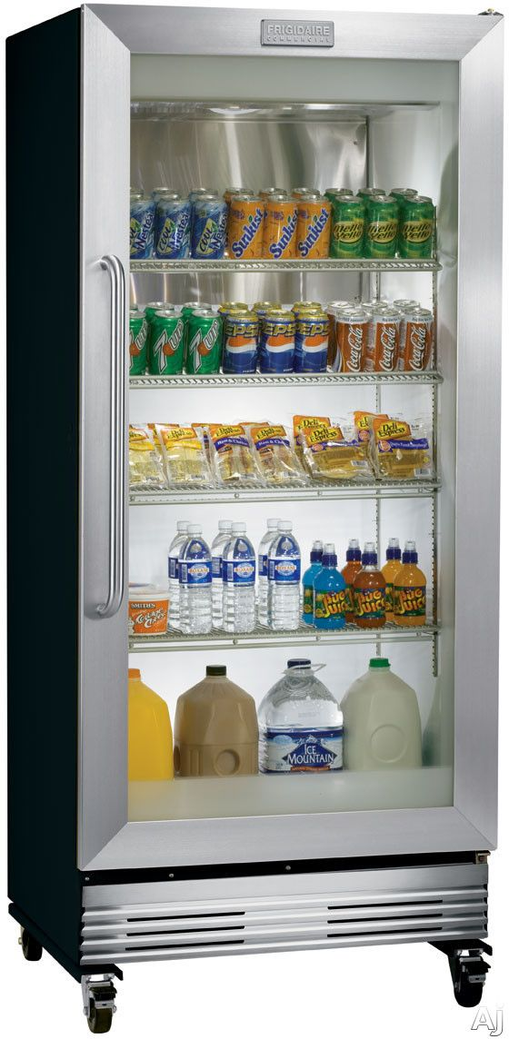 $1478 Frigidaire Commercial Series FCGM201RFB  19.7 cu. ft. Commercial Refrigerator with Dual Pane Glass Display Door, Heavy Duty Locking Casters and NSF Certified