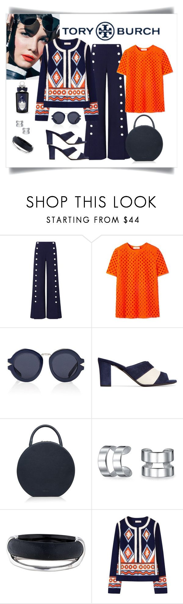 """Tory Burch Marilyn Jacket, Pant & Tee"" by romaboots-1 ❤ liked on Polyvore featuring Tory Burch, Karen Walker, Jil Sander, Bling Jewelry, Alexis Bittar and PENHALIGON'S"