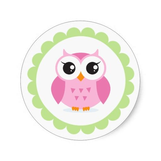 Cute pink owl cartoon inside green border round sticker