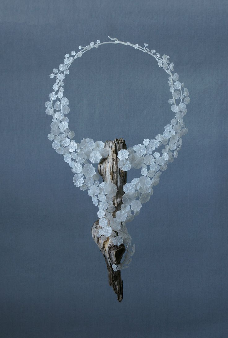 necklace from the Genus: Tropaeolum series (1) / wood and recycled plastic bags / jewelry art by Wiebke Pandikow / silver-crane.com