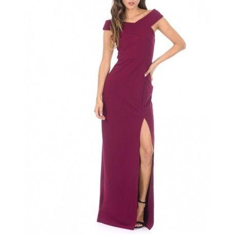 Kobieca fioletowa długa sukienka z ciekawym dekoltem X