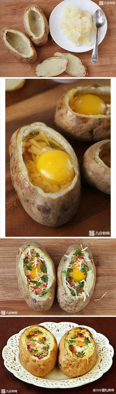 "1 baked potato 1 Tbsp butter 2 eggs 2 strips bacon, cooked. 2 Tbsp. shredded cheddar 1 Tbsp. fresh parsley, chopped. salt and freshly ground black pepper. Place 1/2 tablespoon of butter in the middle of each ""bowl"". Then gently break an egg into each ""bow"