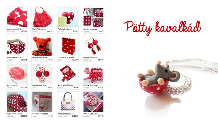 Sok-sok fehér pötty-Niti71 szemezgetője Illusztráció: Belundika - Egér a pöttyös csészében nyaklánc http://www.meska.hu/ProductView/index/796638 #red #white #spotted #playful