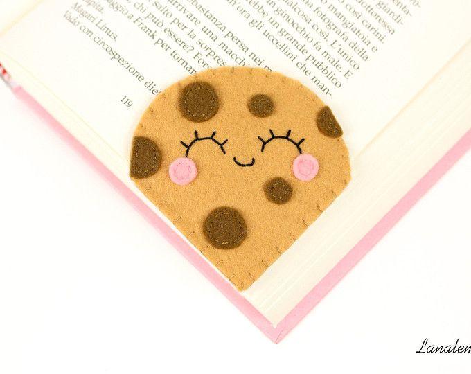 Segnalibro biscotto con gocce di cioccolato, segnalibro ad angolo, dolci in feltro, regalo fidanzata, regalo amica, natale pannolenci