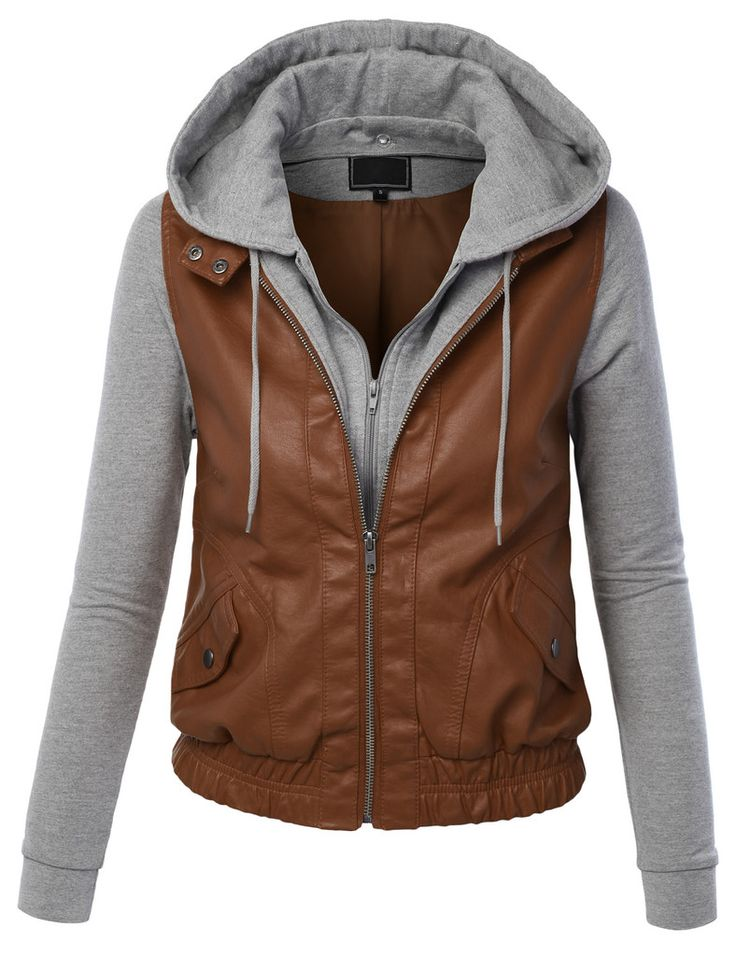 Sizes may run small; please choose a size up. Feel like a rockstar in this faux leather biker zip up sweater hoodie paired with distressed denim. It can be worn causally throughout the day or dressed