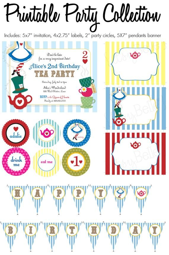 Items Similar To Alice In Wonderland Collection Printable Party