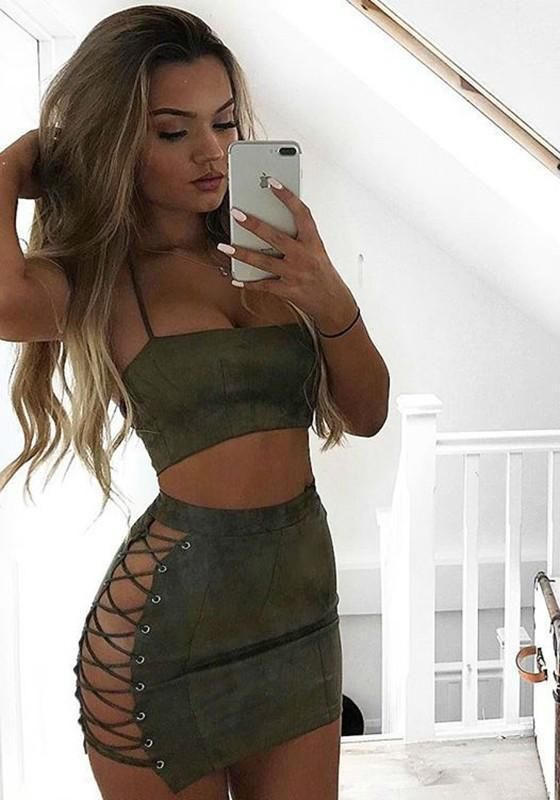Army Green 2-in-1 Bandeau Halter Neck Backless Mini Dress