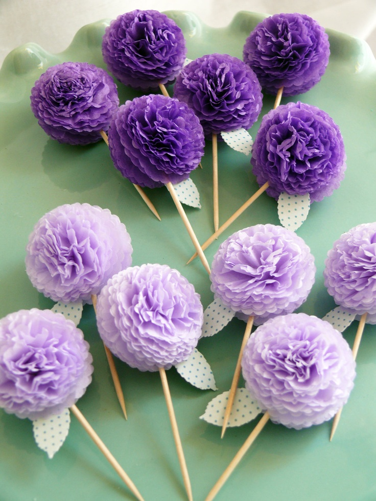 Flower Cupcake Toppers, Party Picks, Food Picks Purple Mums. $11.00, via Etsy.