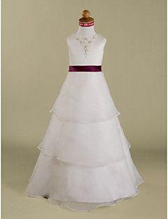 A-line / Princess Floor-length Flower Girl Dress - Organza / Satin Sleeveless…