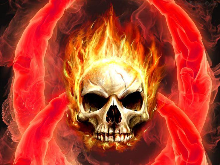 Group Of Flaming Skull Manipulation Wallpaper