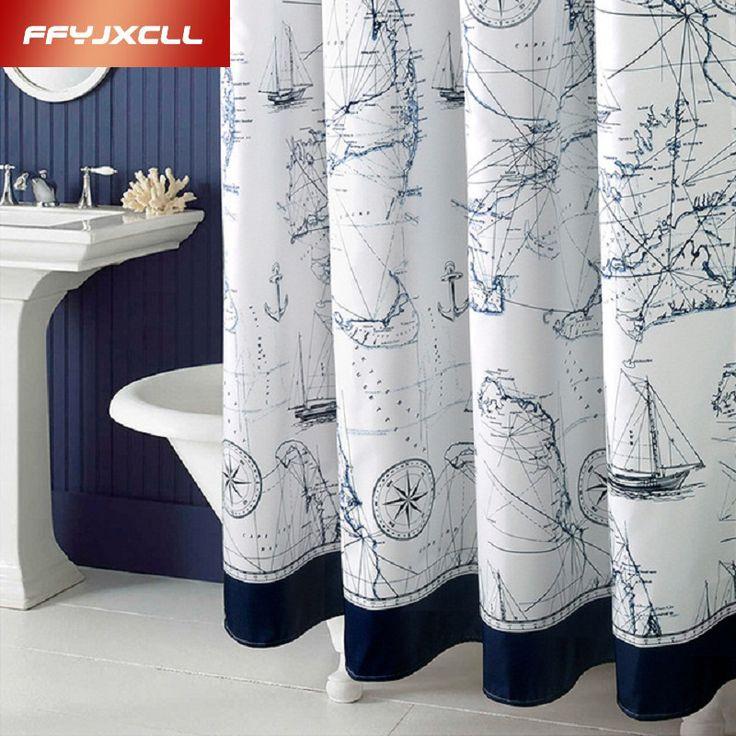 Mediterranean Polyester Sailboat Shower Curtain Waterproof Mildew Thicken Home Bathroom Curtain Custom Made
