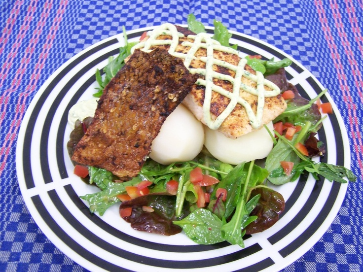 Grilled Salmon Fillet served with Potatoes & Aioli