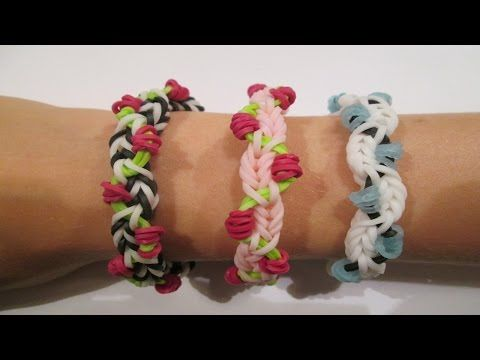 Rainbow Loom PETITE FLEUR Bracelet. Designed and loomed by Clair at Claire's Wears. Click photo for YouTube tutorial. 07/19/14.