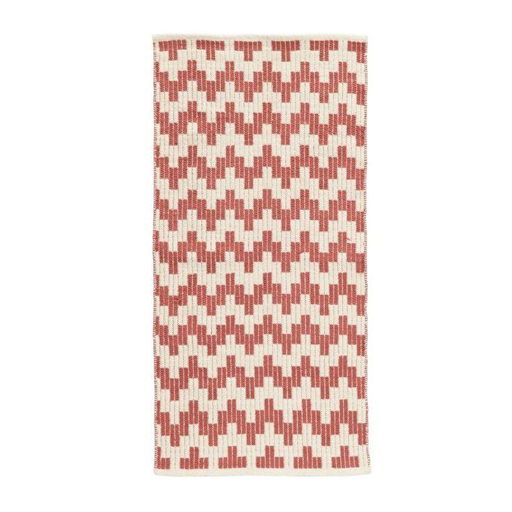 whkmp's own vloerkleed  (60x120 cm), Koraalrood/ecru